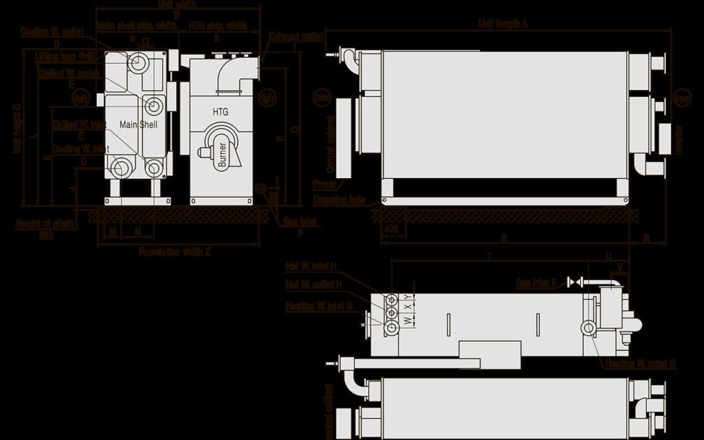 размеры фундамента абхм broad прямого горения, газовая система абхм broad, система водоснабжения абхм broad, выхлопная система абхм broad