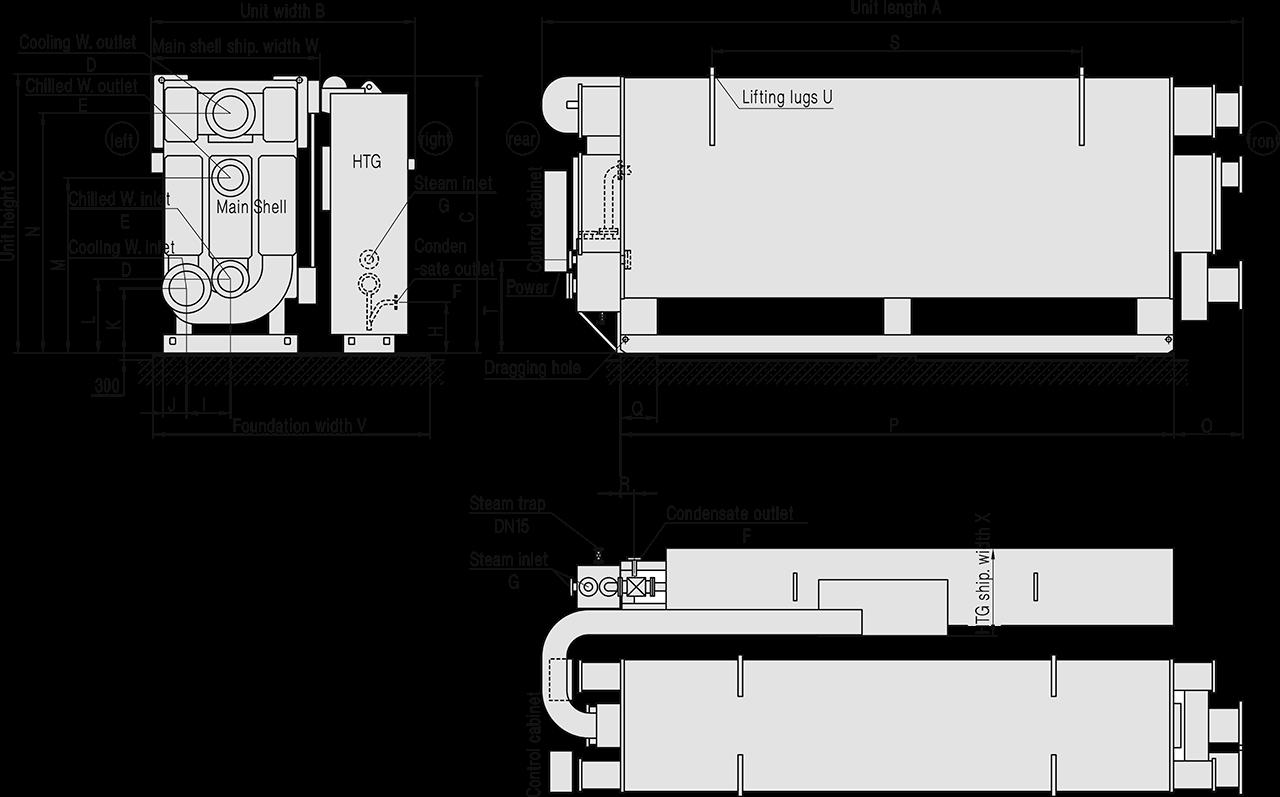 размеры подключения паропровода абхм road bs200